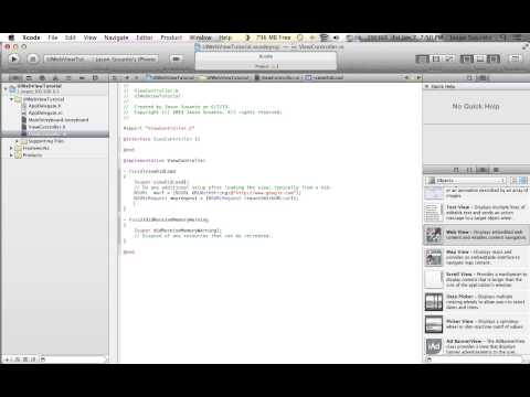 XCode 4.6 UIWebView Tutorial