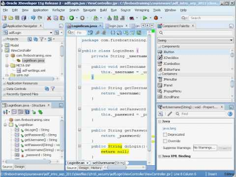 ADF Training - Oracle ADF 11g Security - Custom ADF Login Form - Part 1