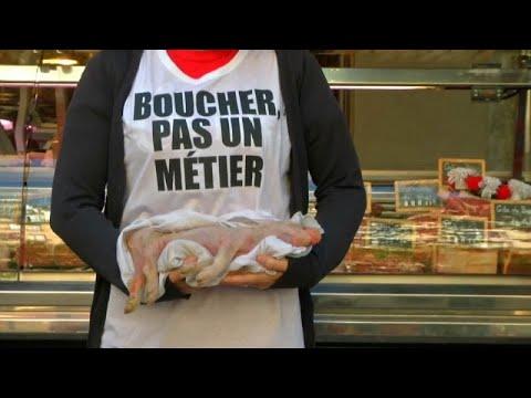 Vegan activists target French butchers