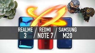 Redmi Note 7 vs Realme 3 vs Galaxy M20: Battery | PUBG | Camera | Full Comparison [Hindi]