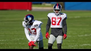 Giants' Odell Beckham, Sterling Shepard practice