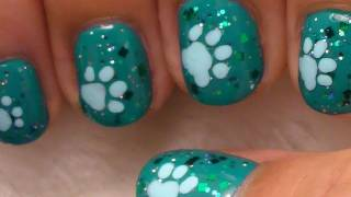 Cute and Simple Nail Art on Short Nails - Dog Paws - YouTube
