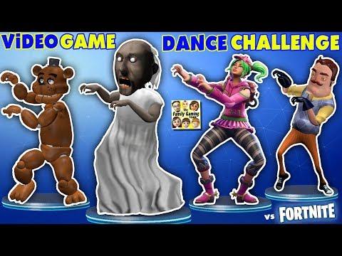 GRANNY vs BENDY vs HELLO NEIGHBOR vs FORTNITE vs FNAF vs ROBLOX! CRAZY VIDEO GAME DANCE CHALLENGE!