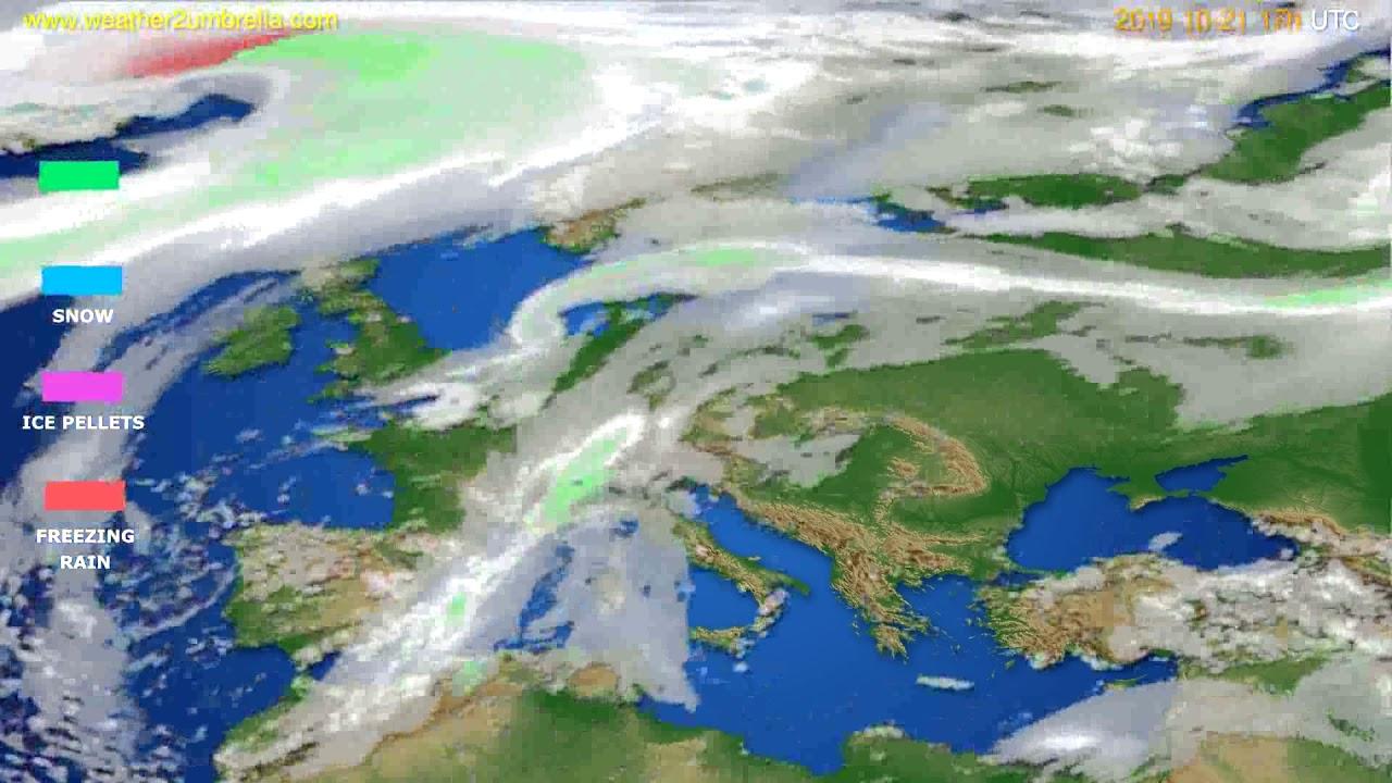 Precipitation forecast Europe // modelrun: 00h UTC 2019-10-20