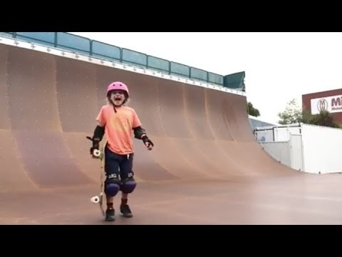 9 Year Old Girl do a 540 On Her Skateboard