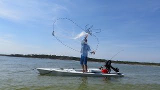 Solo Skiff Cast net throwing