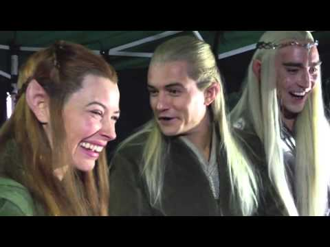 Evangeline Lily - Legolas (Orlando Bloom), Tauriel (Evangeline Lilly) and Thranduil (Lee Pace) react, quite happily to a Livestream Trailer reaction by two female fans, courte...