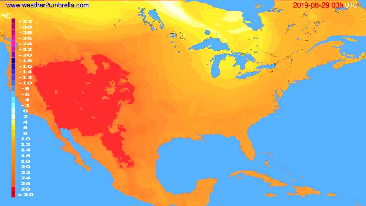 Temperature forecast USA & Canada // modelrun: 00h UTC 2019-08-26