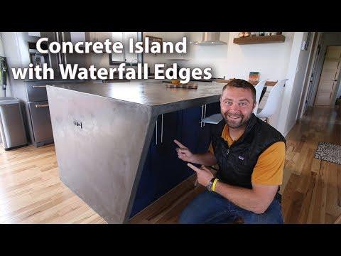 DIY Concrete Counter Island with Waterfall Edges - ( Concrete Overlay ) (видео)