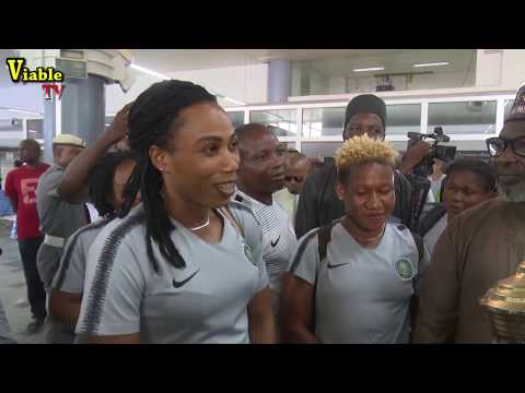 December To Remember : Super Falcons Land In Abuja With 9TH AWCON Trophy