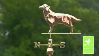 Golden Retriever Weathervane - Polished Copper - Good Directions