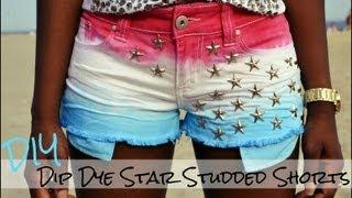 DIY Dip Dye Star Studded American Flag Shorts - YouTube