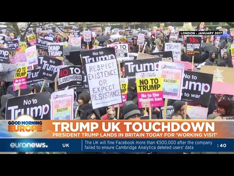 Trump UK Touchdown: President Trump lands in Britain today for a 'working visit'