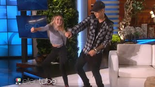 Justin Bieber is trying to do The Nae Nae Dance on Ellen show and he is so good at it!