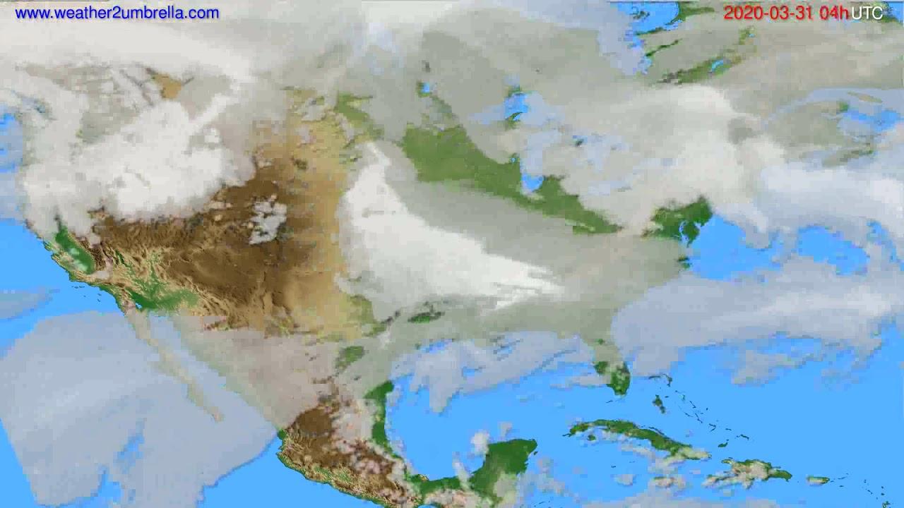 Cloud forecast USA & Canada // modelrun: 12h UTC 2020-03-30