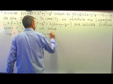 Lagrangemultiplizierers Beispiel: Minimierung einer Funktion, die einer Bedingung