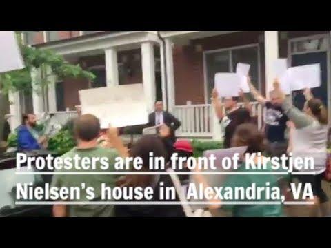285. Hero protesters confront  Kirstjen Nielsen at her house in Alexandria, VA