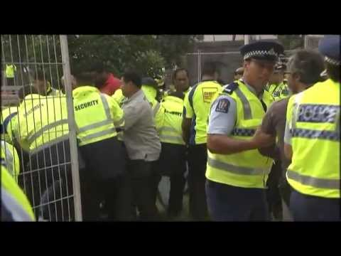 Occupy - Police arrest protesters in Aotea Square June 24 2012.