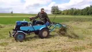 Мини трактор из мотоблока с граблями