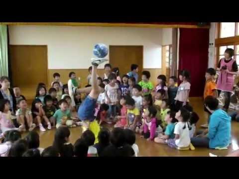 サッカーボールパフォーマンス in 石巻市立ひまわり保育園(2014.08.27)
