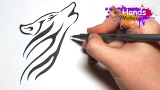 Video Easy How To Draw A Tattoo Style Tribal Wolf Head MP3, 3GP, MP4, WEBM, AVI, FLV Agustus 2018