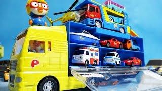 뽀로로4기 뽀로로 타요 또봇 뽀롱뽀롱 뽀로로 파워캐리어카 2대 & 미니카 오픈박스 또봇 타요 또봇 15기 장난감 Pororo Carrier Cars & toys