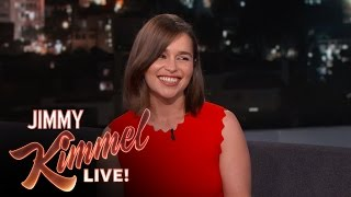 Emilia talks about staying in a haunted house, using an American accent and going on a late night Home Depot run with...