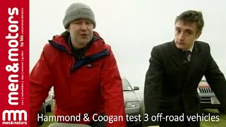 Richard Hammond and Brendan Coogan test and compare three off-road vehicles - the Jeep Cherokee, the Toyota Colorado and the Audi Allroad. They take the cars for test drives across muddy fields and really put the cars through their paces.------------------Don't forget to SUBSCRIBE for more content!http://www.youtube.com/user/menandmotors?sub_confirmation=1© Men and Motors - One Media iP 2017