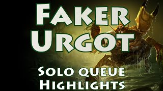 SKT T1 Faker shows off his new mastery of the FOTM Urgot Mid with a couple of very impressive solo queue games. Game 1: https://youtu.be/T-UAX8MdlUAGame 2: http://youtu.be/H5gWn3SS2LQSubscribe for more Korean VODs & commentaries: http://bit.ly/j0kerSUBYou can find all Faker VODs at: http://bit.ly/FakerVODsCheck out more Season 5 VODs at: http://bit.ly/s5VODs