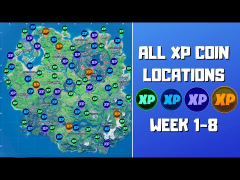 All 78 XP Coins Locations in Fortnite Season 4 Chapter 2 (Green, Blue, Purple, and Gold)! - Week 1-8