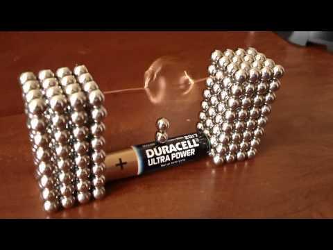 將這些強力磁鐵球纏在手指上, 當把電池擺上去之後... 這完全應該編進教科書範例實驗呀!