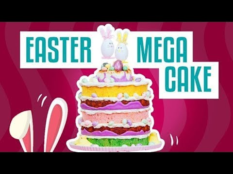 How to Make An EASTER MEGA CAKE! Giant Macaroons, Honey Buttercream, Lavender and Candy!