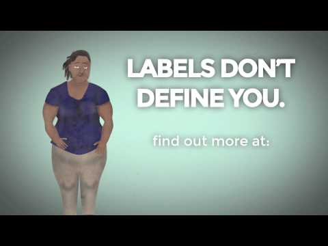 A heavyset, unhappy teen girl next to text 'Labels Don't Define You'