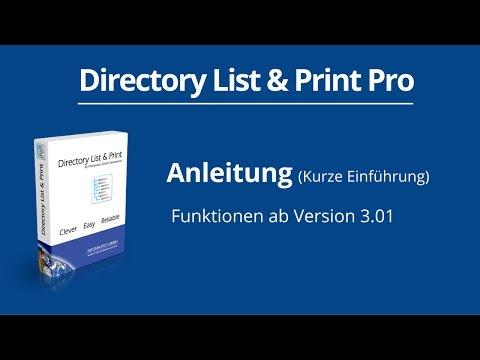 Dateilisten und Verzeichnisinhalte ausgeben, drucken und exportieren - Directory List & Print Pro