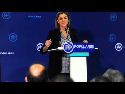Cospedal muestra su preocupación por la fuga de empresas en la región motivada por la subida de impuestos de PSOE-Podemos