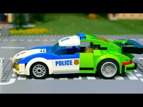 Lego Wrong and experemental police cars and truks ,  Brick Building Animation video for Kids