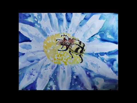 Painting with watercolors a beetle on a flower