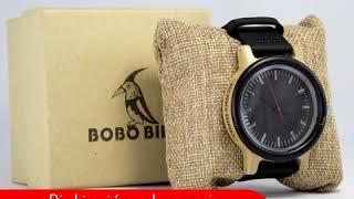 Reloj cuarzo de madera para Hombre - Manilla en cuero - Negro