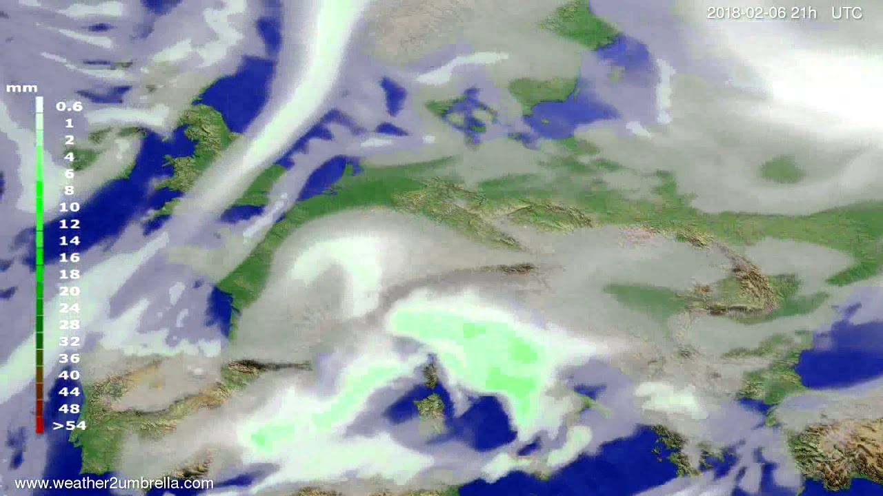 Precipitation forecast Europe 2018-02-03