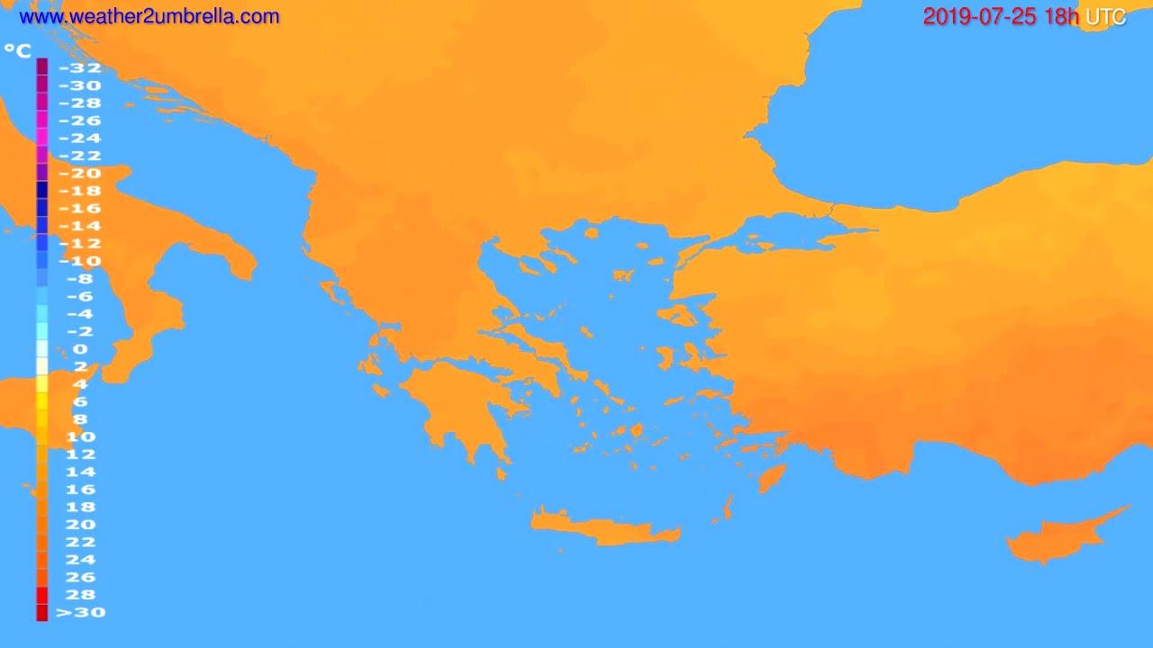 Temperature forecast Greece // modelrun: 12h UTC 2019-07-22