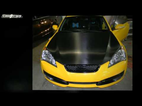 Yellow Hyundai Genesis Carbon Fiber Hood Wrap Install with 3M 1080
