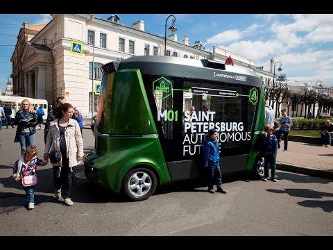 Будущее рядом: автобус-беспилотник на улицах Петербурга (видео)