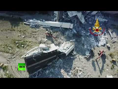 Aerial View: Aftermath Of Deadly Genoa Bridge Collapse