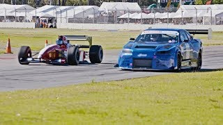 Video THE SHOWDOWN! 1000hp R34 GTR vs F1 car - ROLL RACE! At the Adelaide Motorsport Festival MP3, 3GP, MP4, WEBM, AVI, FLV Januari 2019