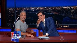 Video Jon Stewart Takes Over Colbert's Late Show Desk MP3, 3GP, MP4, WEBM, AVI, FLV Mei 2018