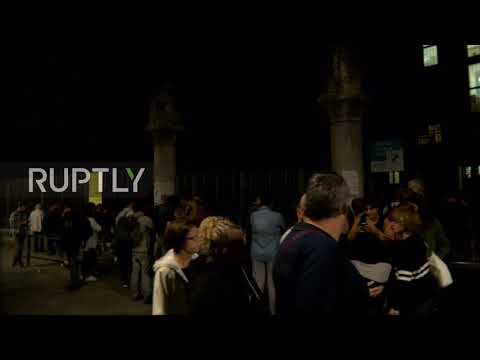 Spain: Voters gather outside polling station hours before Catalan referendum