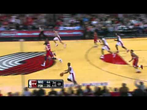 Nicolas Batum blocks and dunks on the Wizards