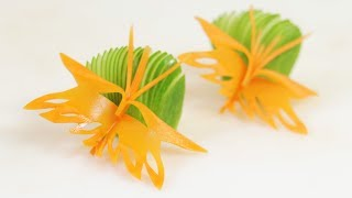 One more style of carrot butterfly carving garnish. Please enjoy the video. Thanks for support.Like Videos: https://www.youtube.com/watch?v=Axa08XjPpkw&list=PLTZOlFP0vpMRGPQm-Lfykgbu5-stP8UCvPlease Like & Share. Thanks for subscribe.-------------Facebook: https://www.facebook.com/lavyfruity/Google Plus: https://plus.google.com/+LavyFuityTwitter: https://twitter.com/LavyFruity-------------Breaktime - Silent Film Light by Kevin MacLeod is licensed under a Creative Commons Attribution license (https://creativecommons.org/licenses/by/4.0/)Source: http://incompetech.com/music/royalty-free/index.html?isrc=USUAN1100302Artist: http://incompetech.com/