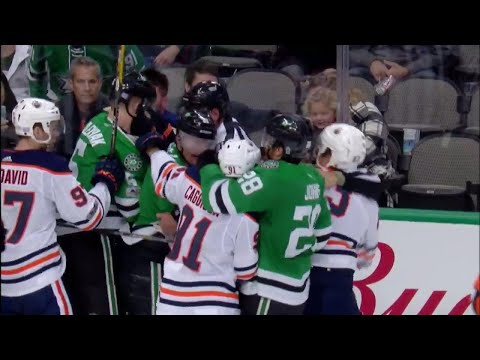Video: Rousell appears to kick Klefbom with skate, scrum starts between Oilers and Stars
