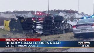 Fatal crash closes U.S. 33 in Union County
